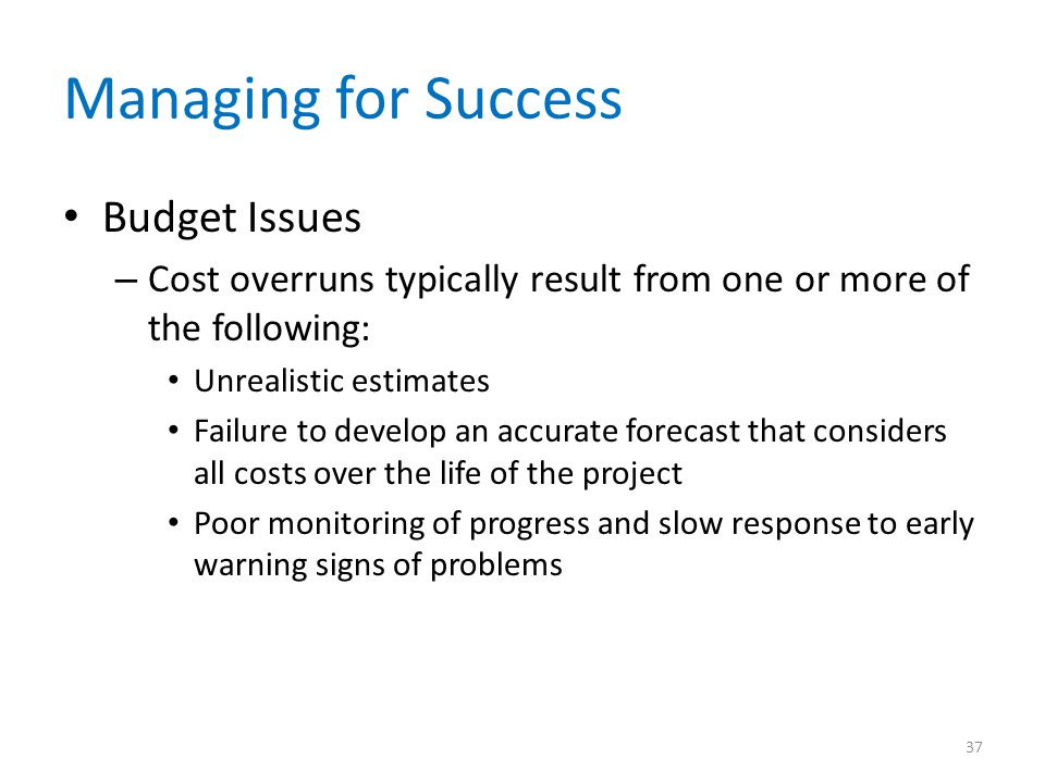 Managing for Success Budget Issues