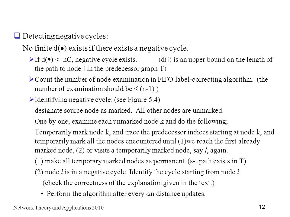 Detecting negative cycles: