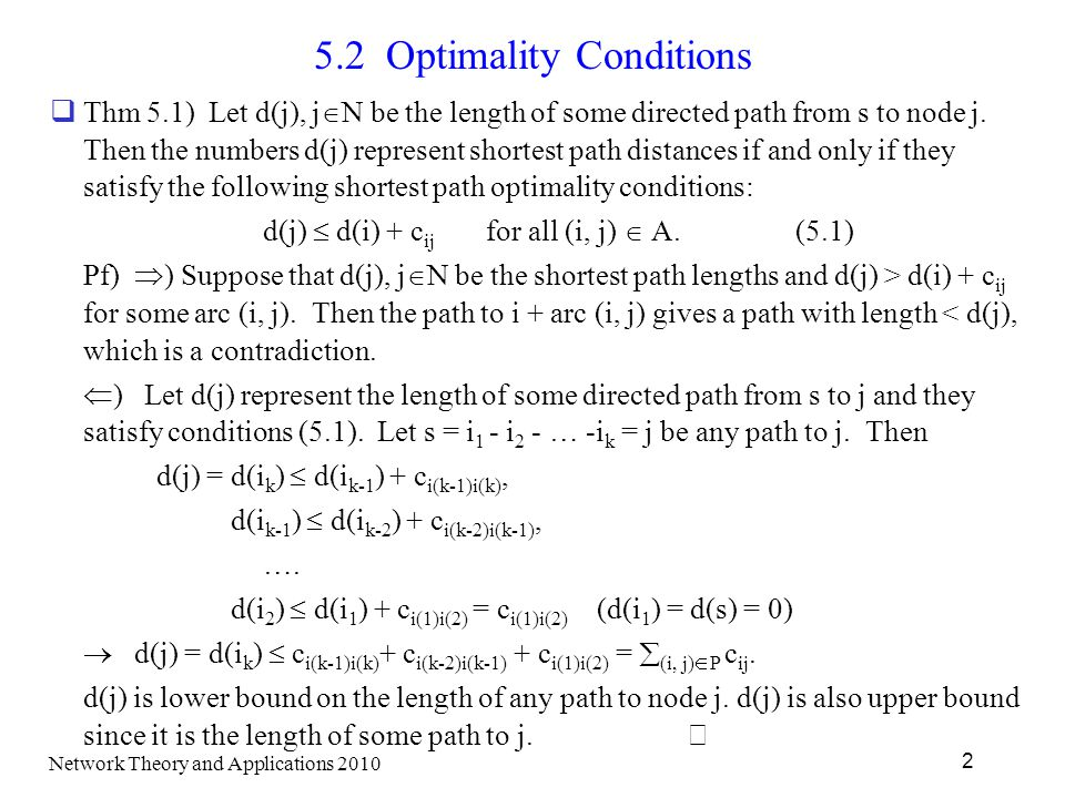 5.2 Optimality Conditions