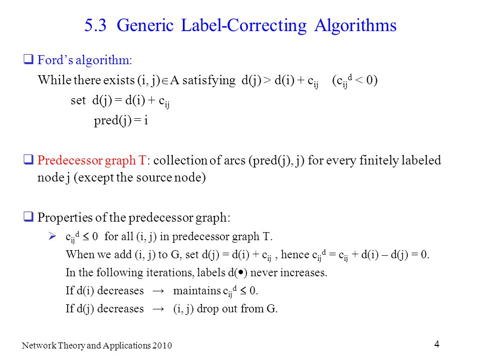 5.3 Generic Label-Correcting Algorithms