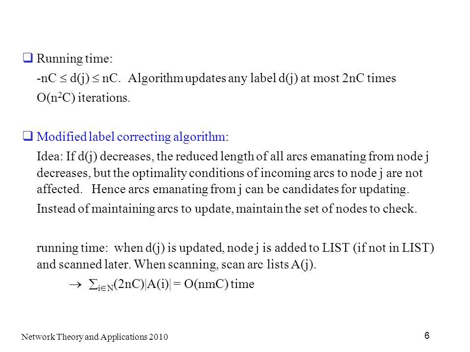 -nC  d(j)  nC. Algorithm updates any label d(j) at most 2nC times