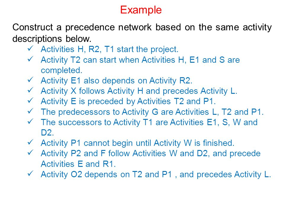 Example Construct a precedence network based on the same activity descriptions below. Activities H, R2, T1 start the project.