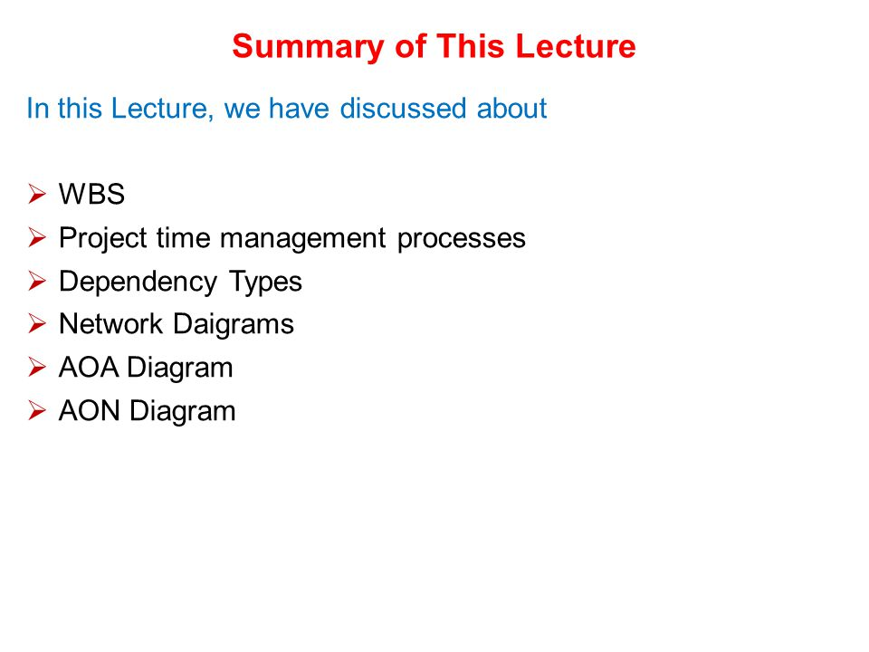 Summary of This Lecture