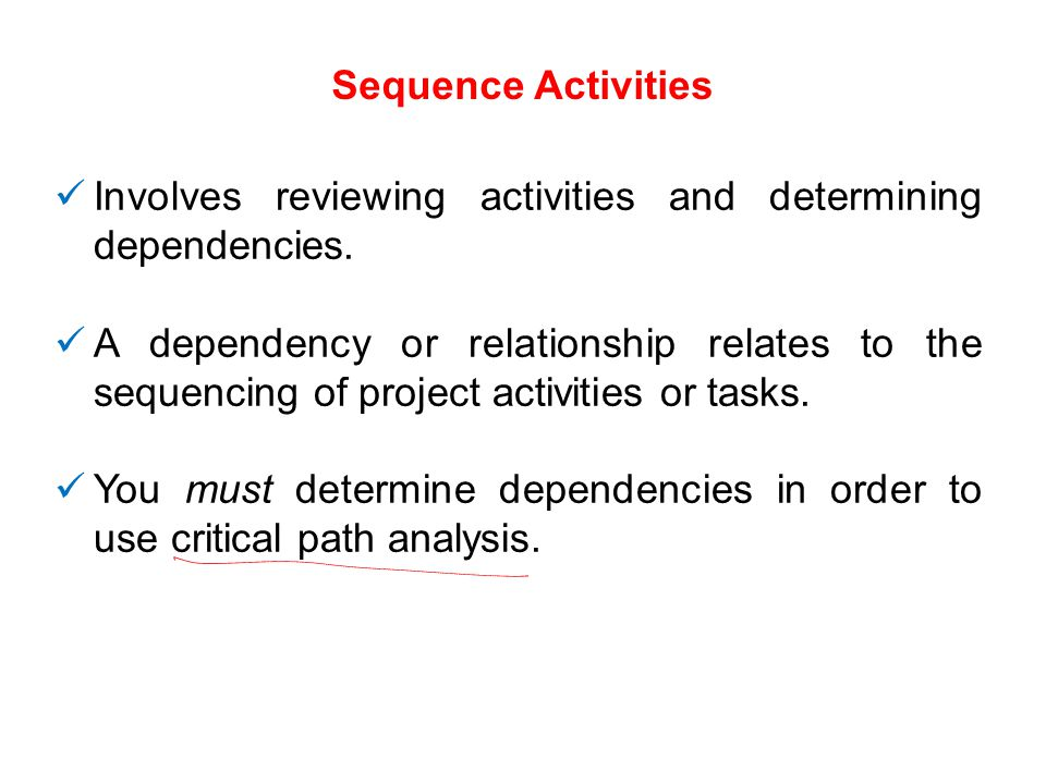 Sequence Activities Involves reviewing activities and determining dependencies.