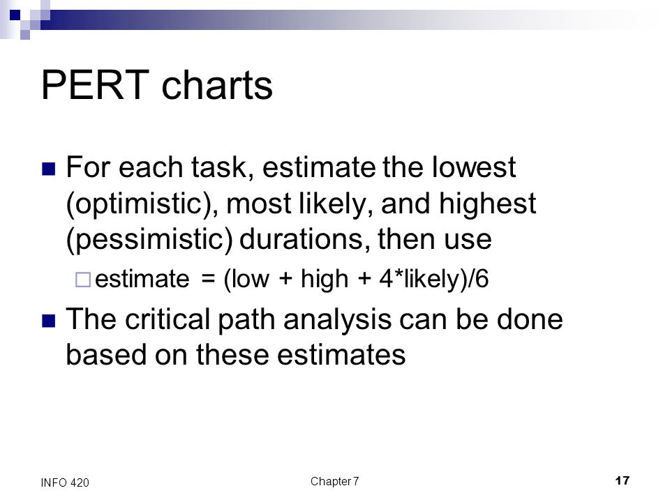 PERT charts For each task, estimate the lowest (optimistic), most likely, and highest (pessimistic) durations, then use.