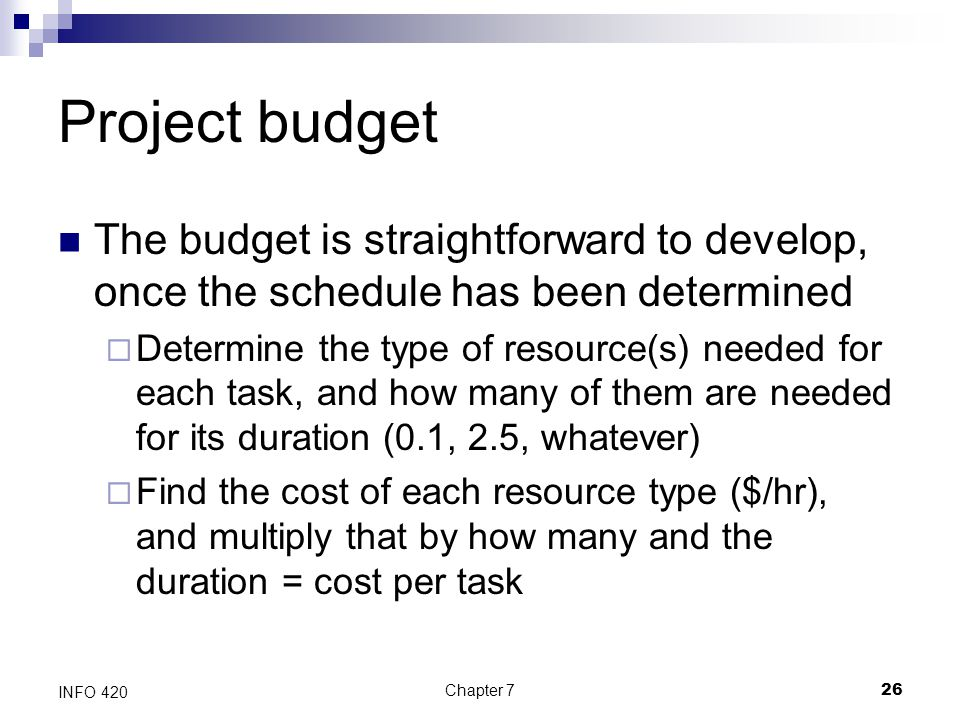 Project budget The budget is straightforward to develop, once the schedule has been determined.