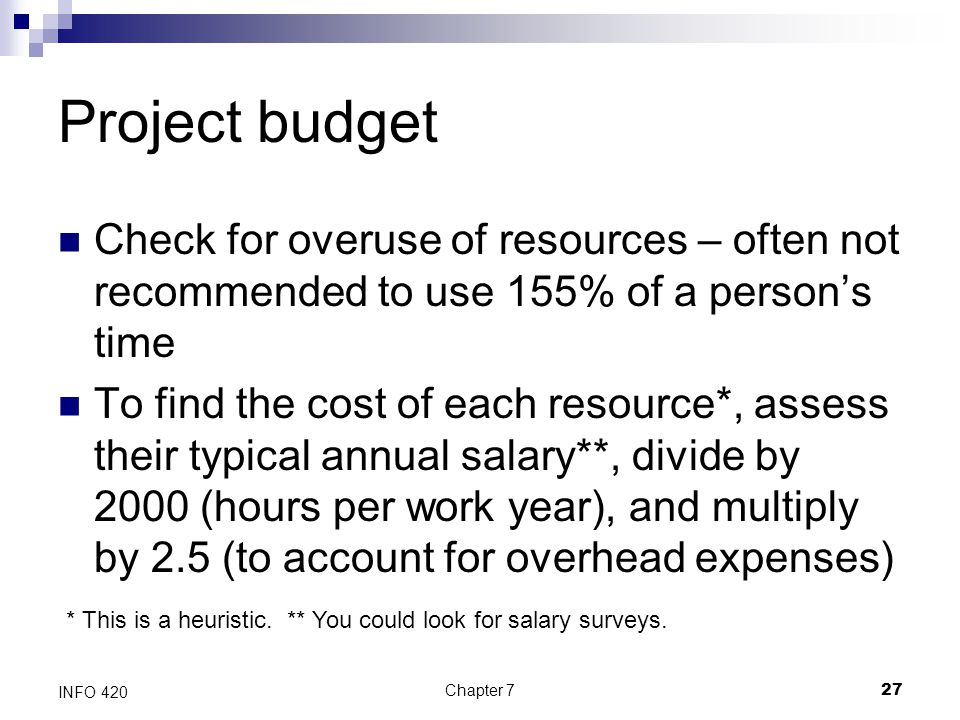 Project budget Check for overuse of resources – often not recommended to use 155% of a person's time.