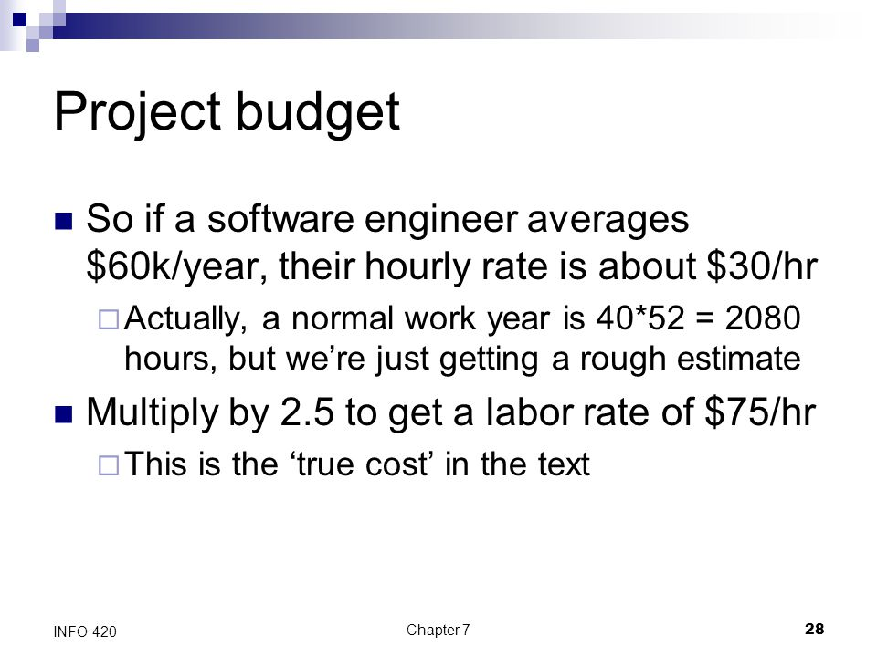 Project budget So if a software engineer averages $60k/year, their hourly rate is about $30/hr.