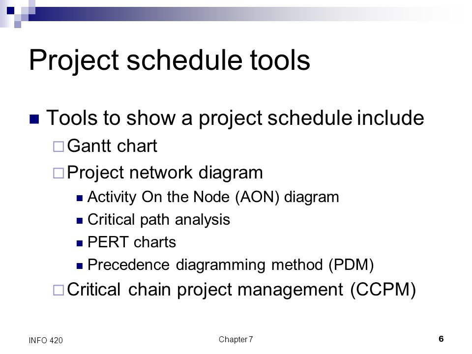 Project schedule tools