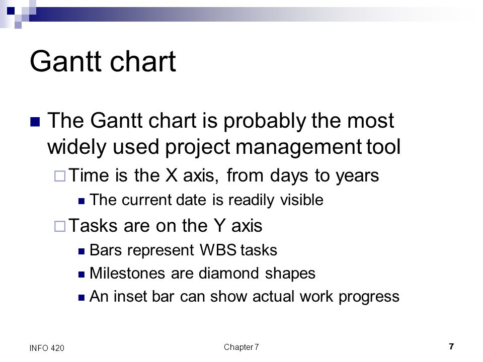 Gantt chart The Gantt chart is probably the most widely used project management tool. Time is the X axis, from days to years.