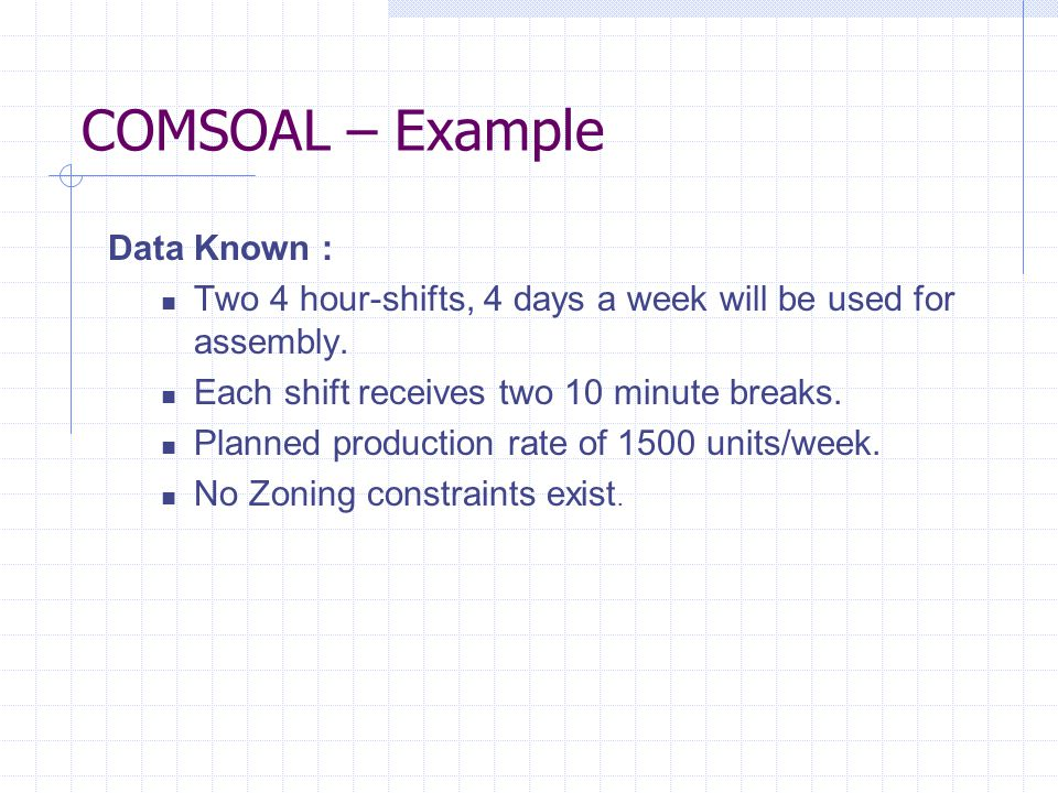 COMSOAL – Example Data Known :