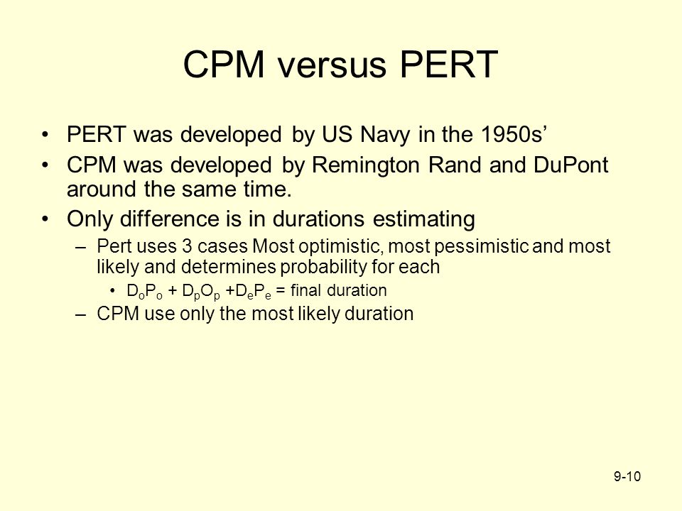 CPM versus PERT PERT was developed by US Navy in the 1950s'