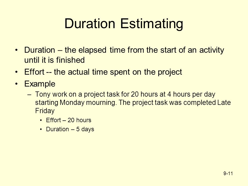 Duration Estimating Duration – the elapsed time from the start of an activity until it is finished.