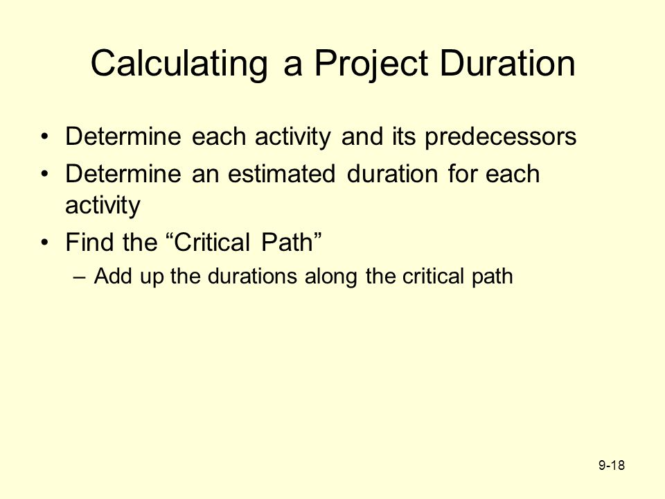 Calculating a Project Duration