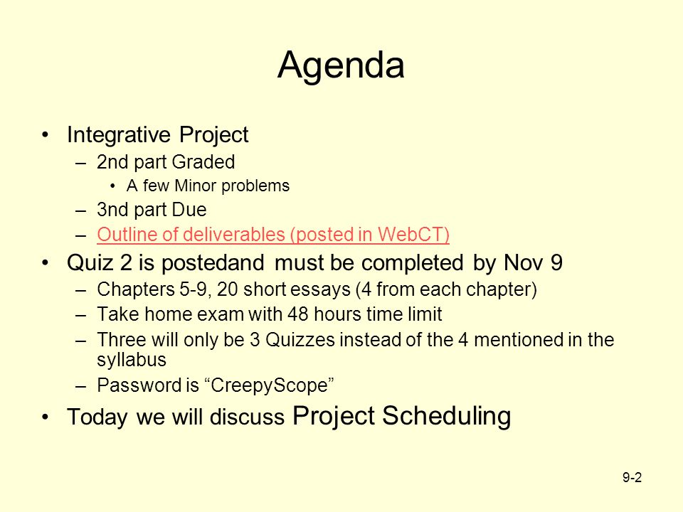 Agenda Integrative Project