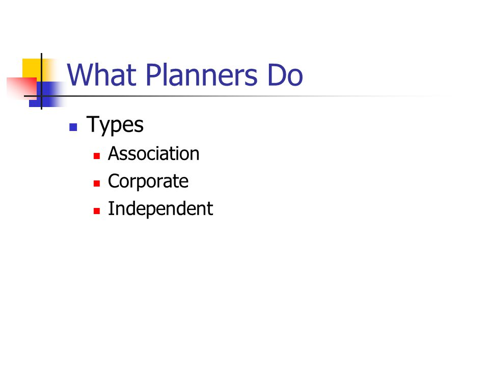 What Planners Do Types Association Corporate Independent