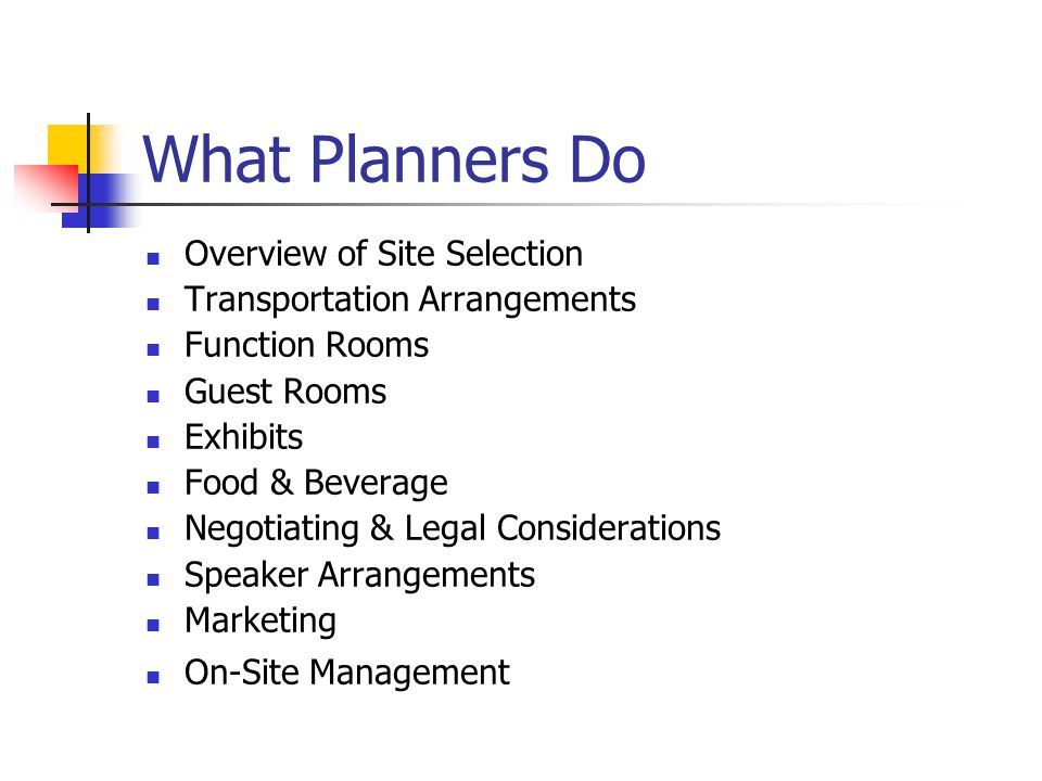 What Planners Do Overview of Site Selection