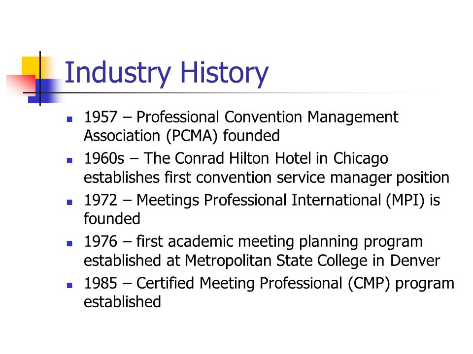 Industry History 1957 – Professional Convention Management Association (PCMA) founded.