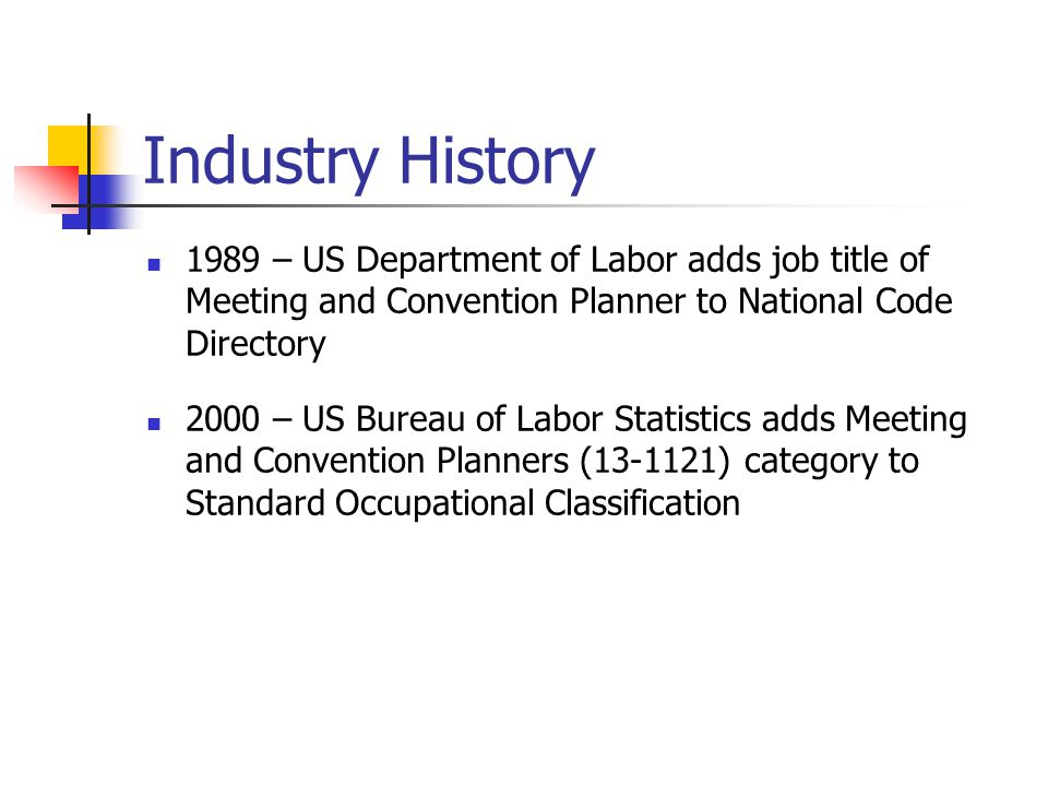 Industry History 1989 – US Department of Labor adds job title of Meeting and Convention Planner to National Code Directory.