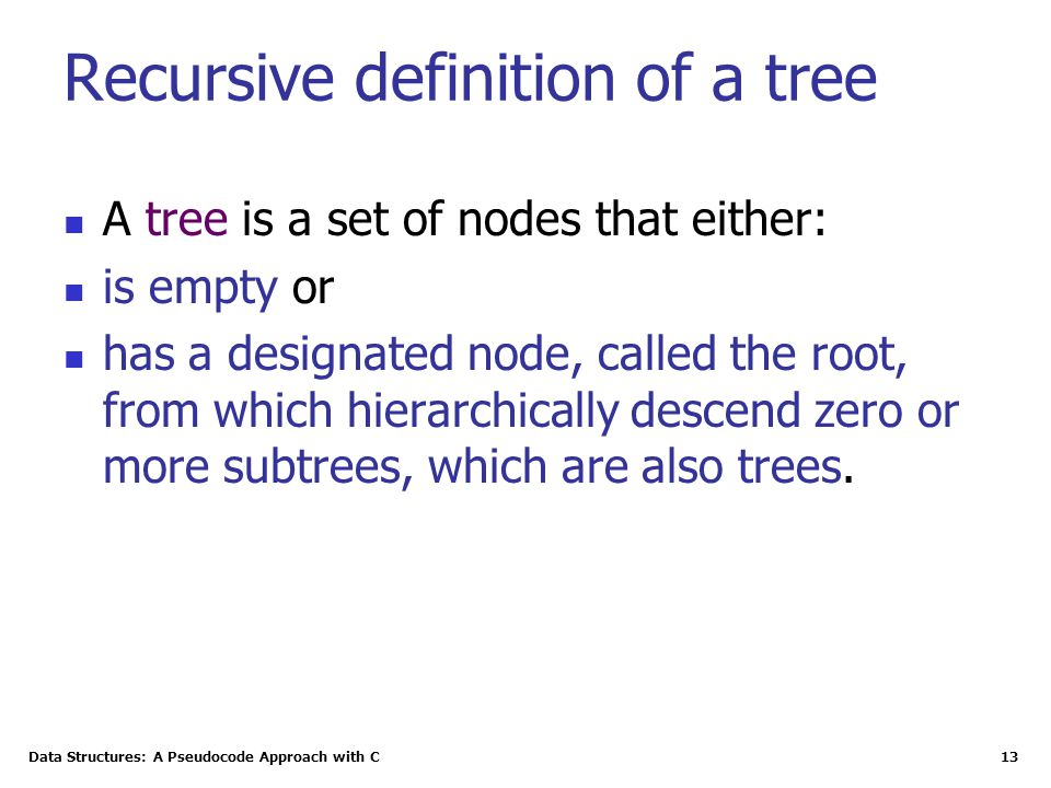 Recursive definition of a tree