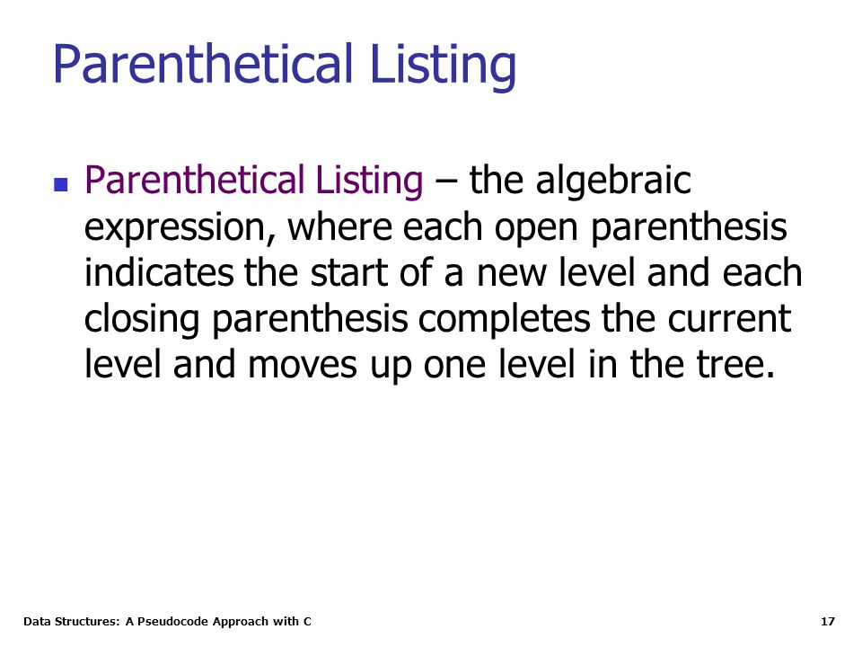 Parenthetical Listing
