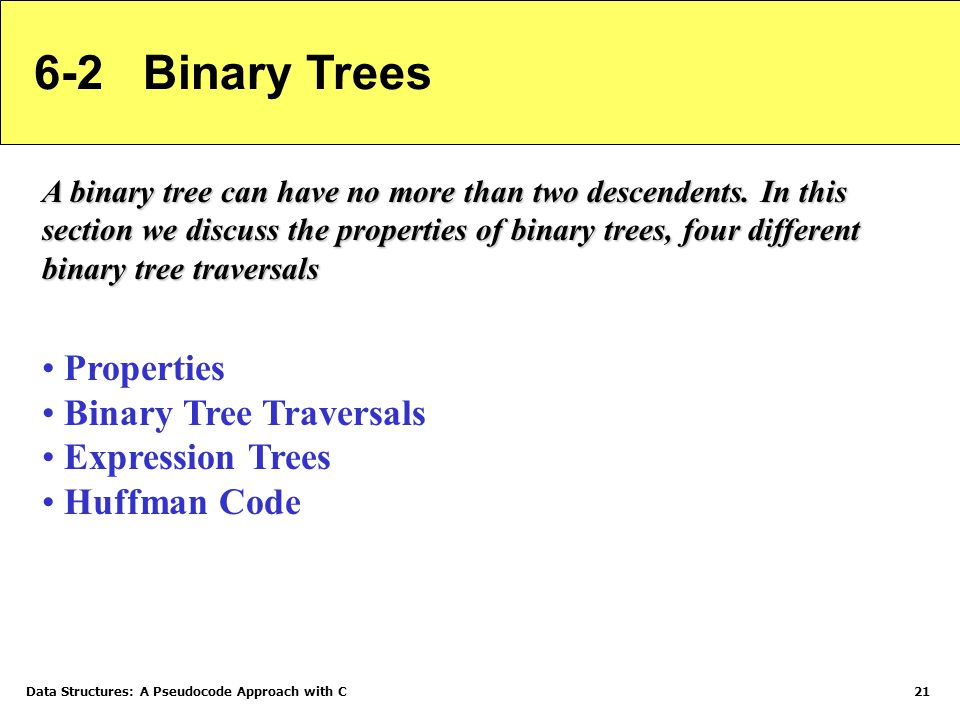 6-2 Binary Trees Properties Binary Tree Traversals Expression Trees