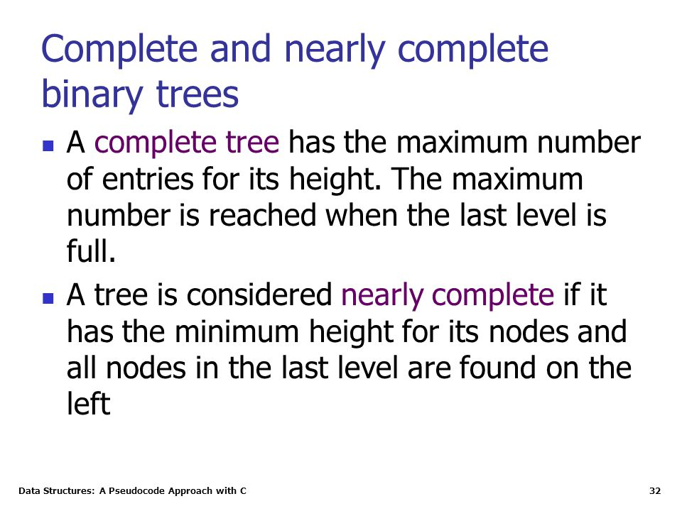 Complete and nearly complete binary trees