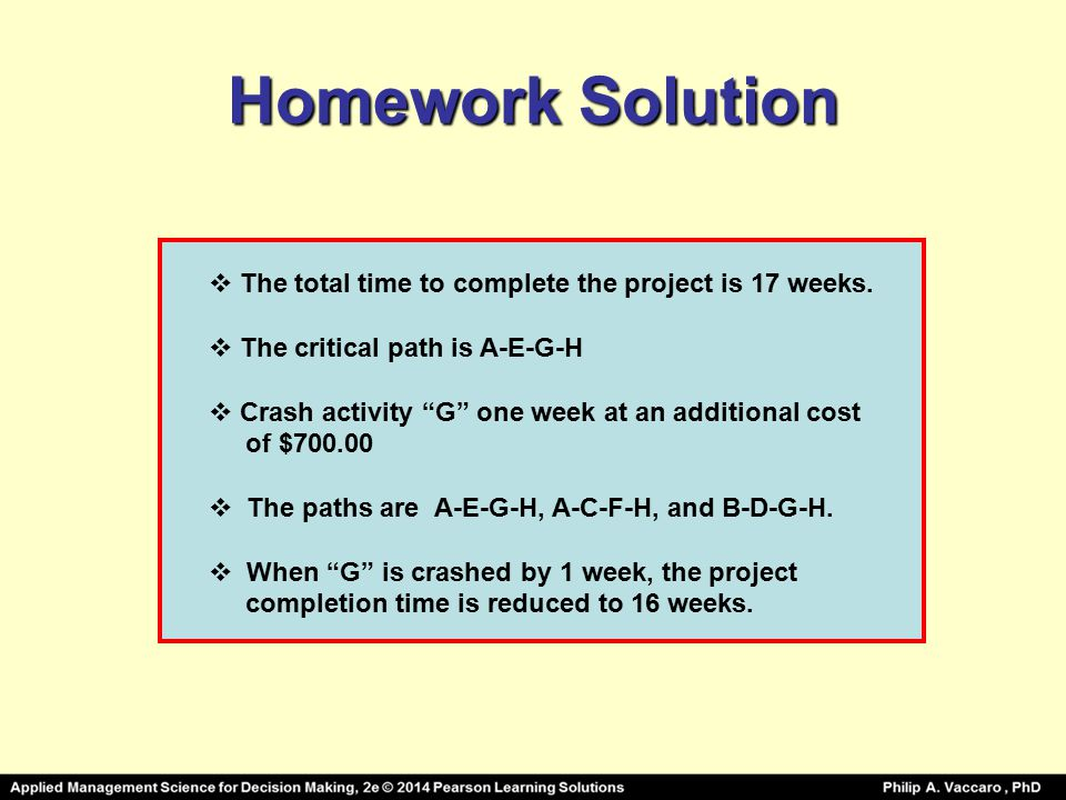 Homework Solution The total time to complete the project is 17 weeks.