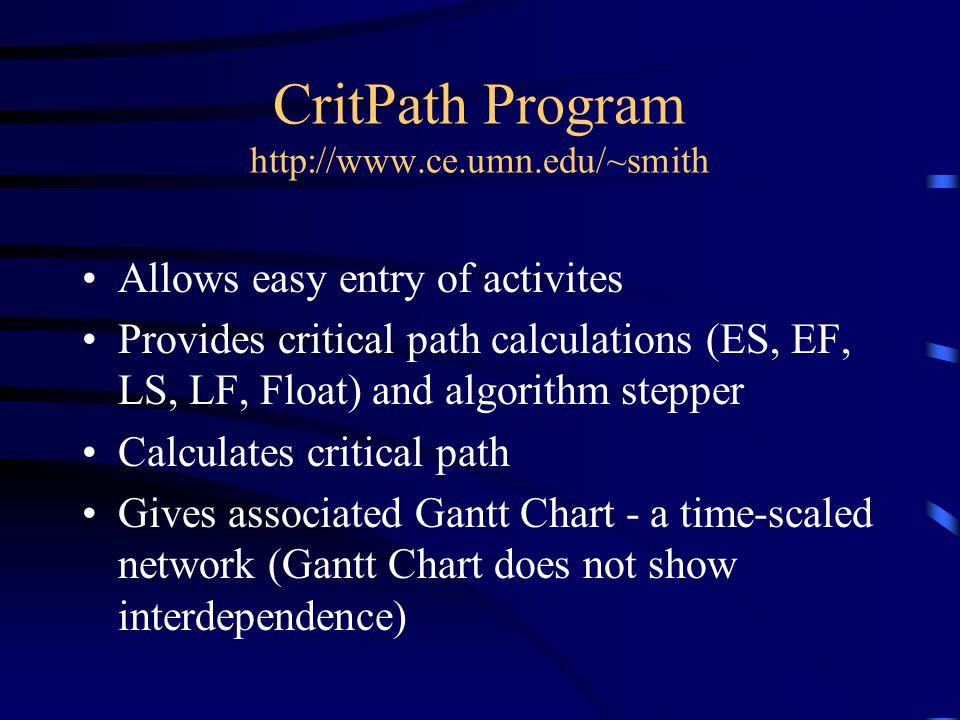 CritPath Program http://www.ce.umn.edu/~smith