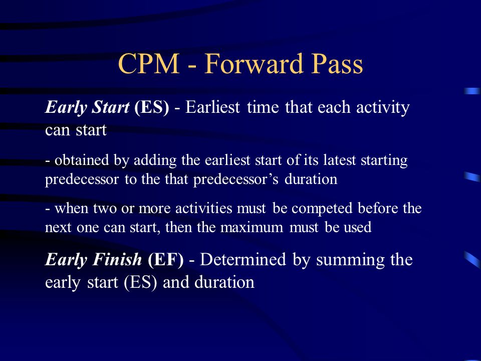 CPM - Forward Pass Early Start (ES) - Earliest time that each activity can start.