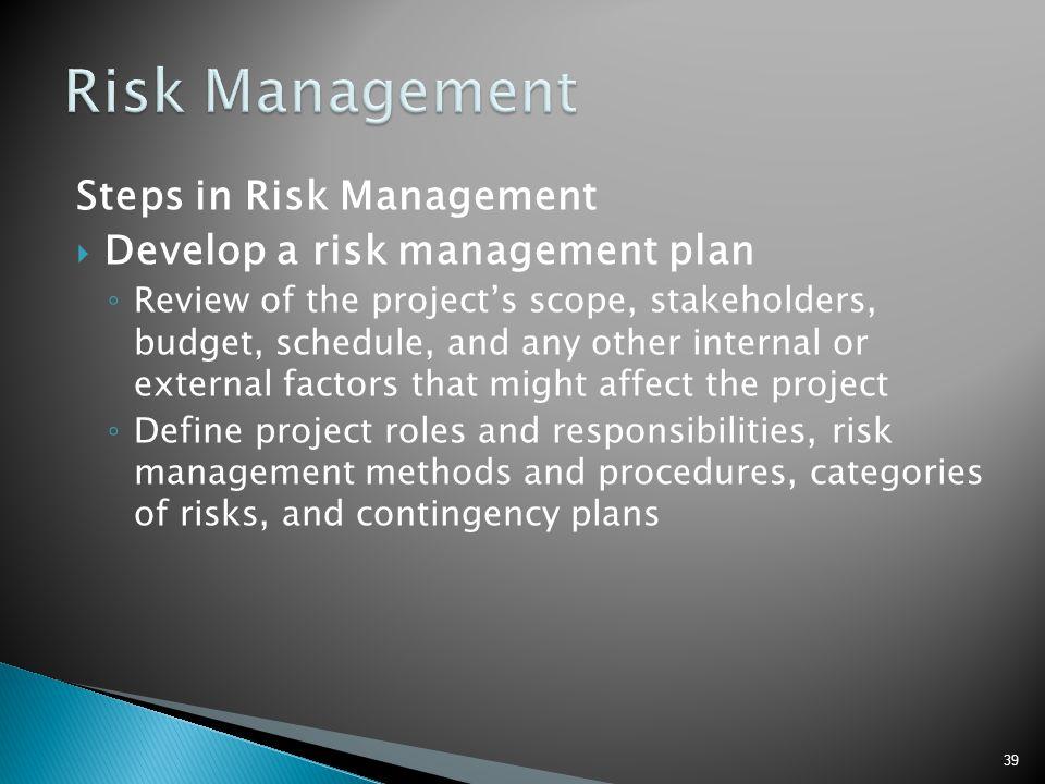 Risk Management Steps in Risk Management