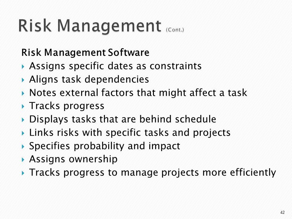 Risk Management (Cont.)