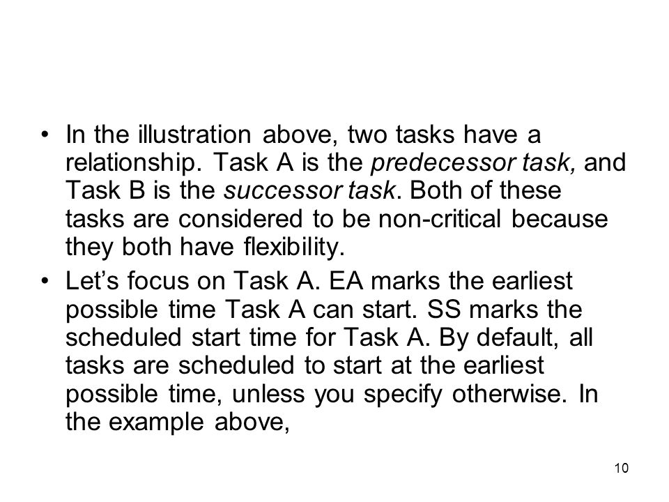 In the illustration above, two tasks have a relationship