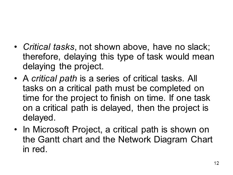 Critical tasks, not shown above, have no slack; therefore, delaying this type of task would mean delaying the project.