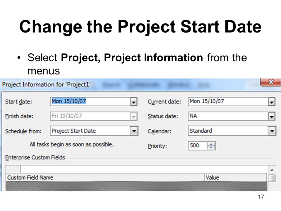 Change the Project Start Date
