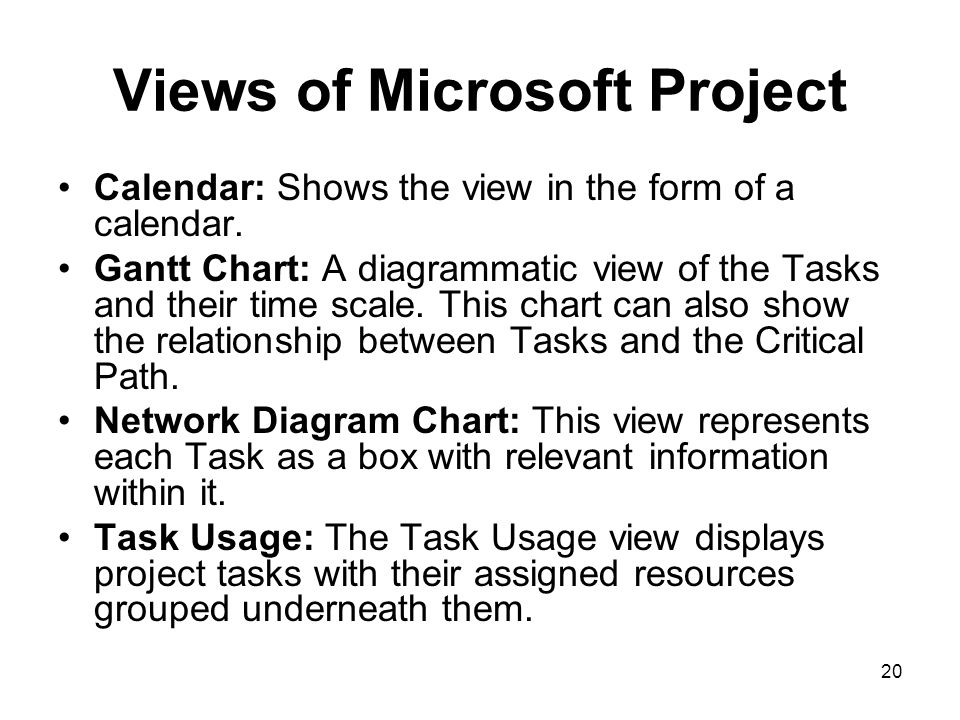 Views of Microsoft Project