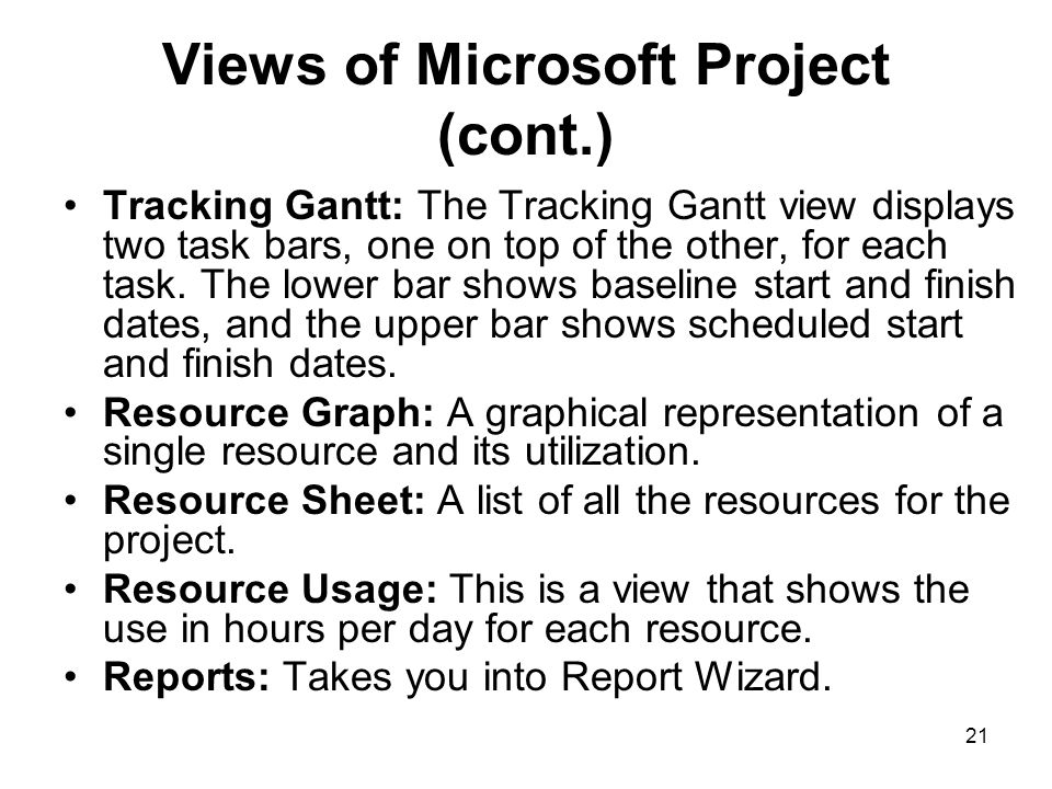 Views of Microsoft Project (cont.)