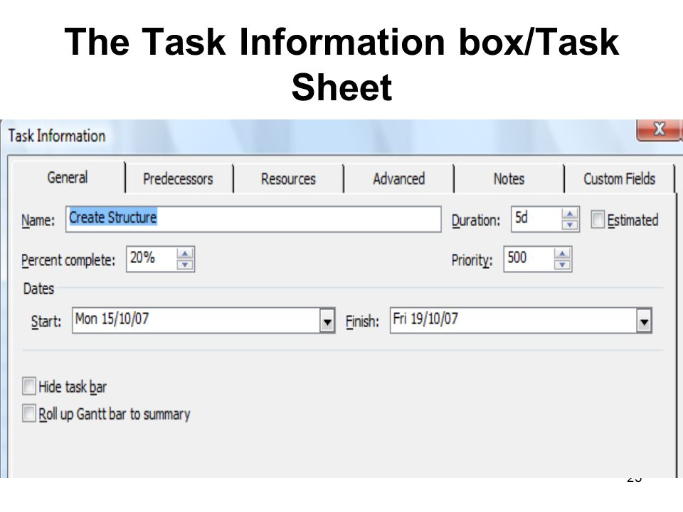 The Task Information box/Task Sheet