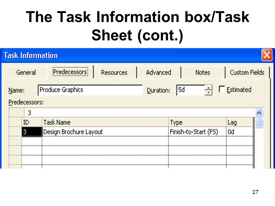 The Task Information box/Task Sheet (cont.)