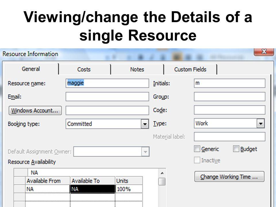 Viewing/change the Details of a single Resource