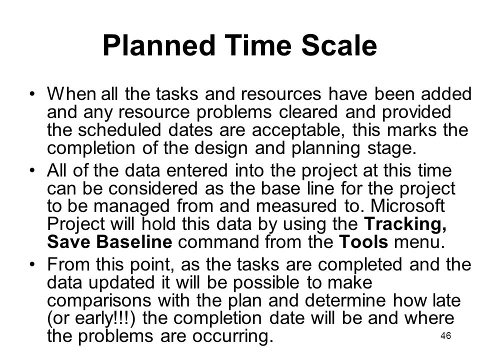 Planned Time Scale