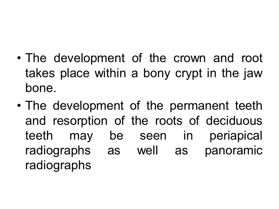 The development of the crown and root takes place within a bony crypt in the jaw bone.