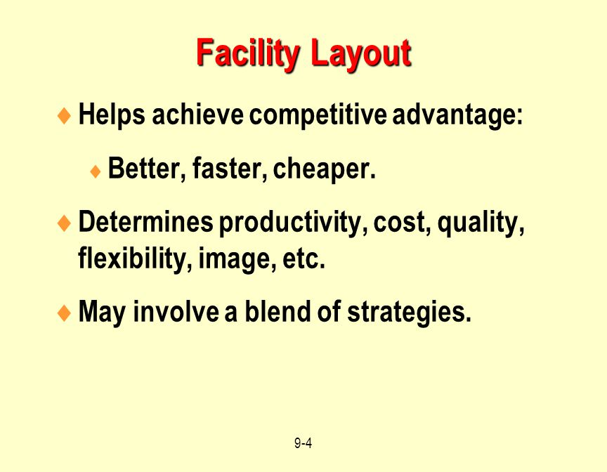 Facility Layout Helps achieve competitive advantage: