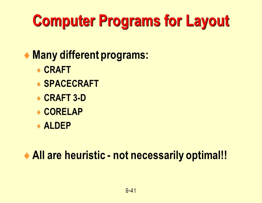 Computer Programs for Layout