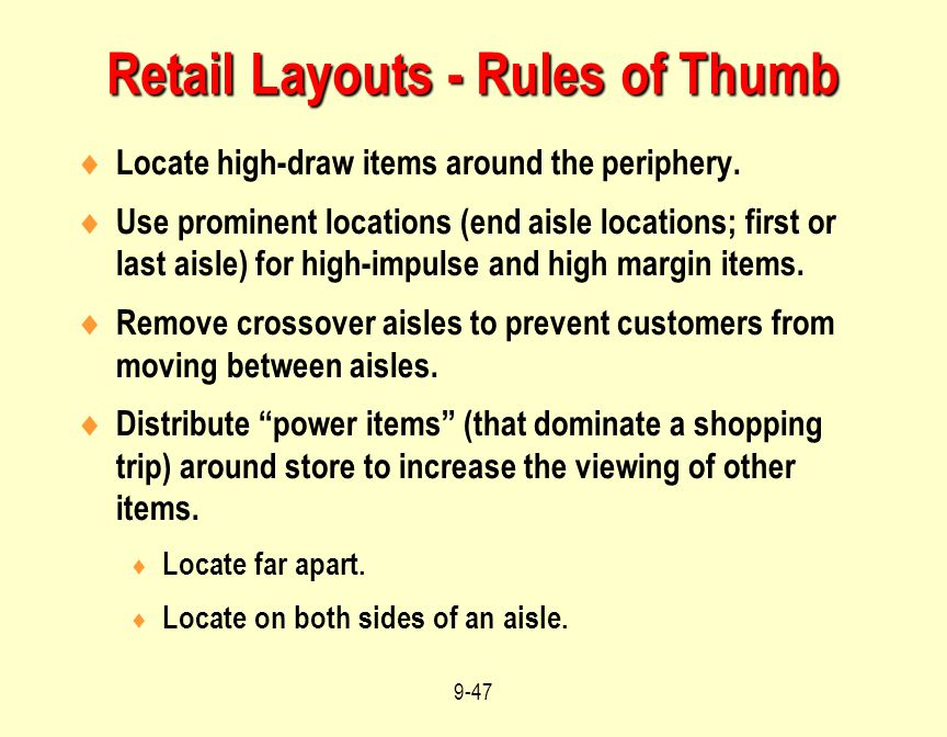 Retail Layouts - Rules of Thumb