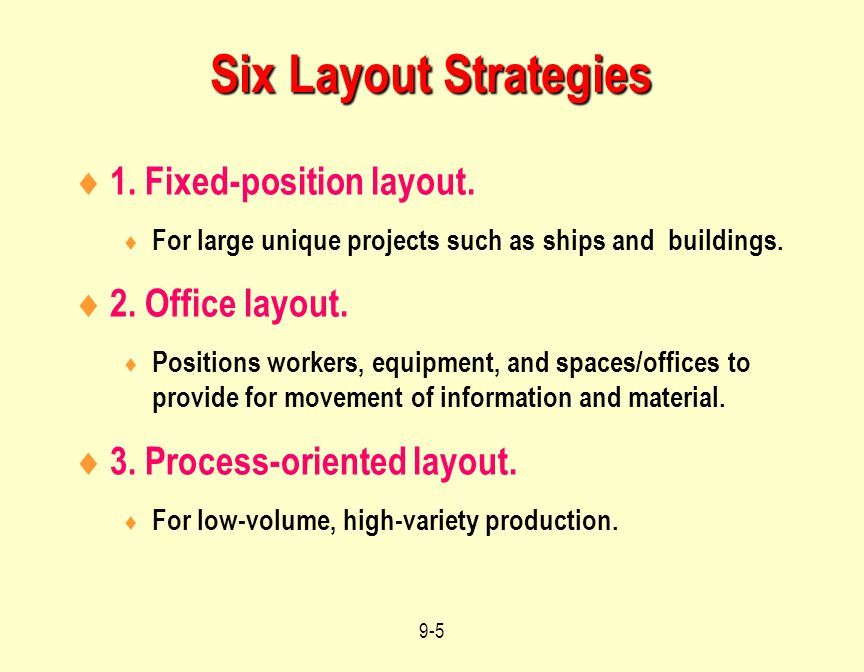 Six Layout Strategies 1. Fixed-position layout. 2. Office layout.