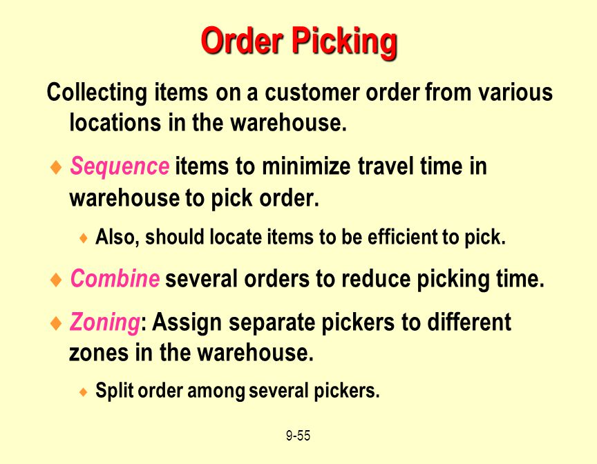 Order Picking Collecting items on a customer order from various locations in the warehouse.