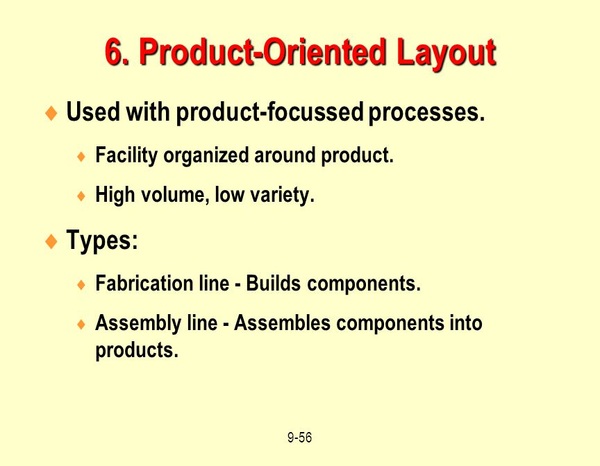 6. Product-Oriented Layout
