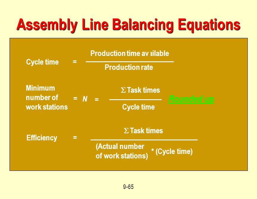 Assembly Line Balancing Equations