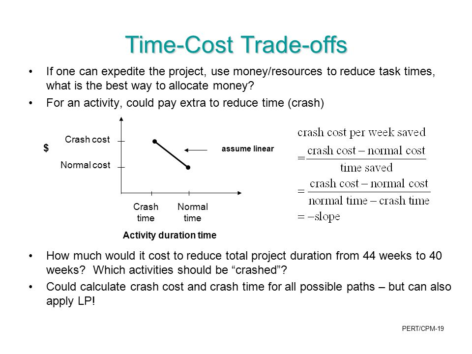 Time-Cost Trade-offs If one can expedite the project, use money/resources to reduce task times, what is the best way to allocate money